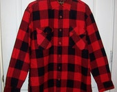 Vintage Men's Red & Black Plaid Flannel Shirt w/ Quilted Lining by Grizzly Medium Only 15 USD