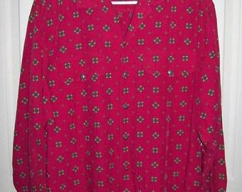 Vintage 80s Men's Pink Geometric Print Shirt by Lizwear Medium Only 7 USD