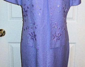 Vintage Ladies Purple Sheath Dress w/ Matching Jacket by Positive Attitude Size 6 Only 11 USD