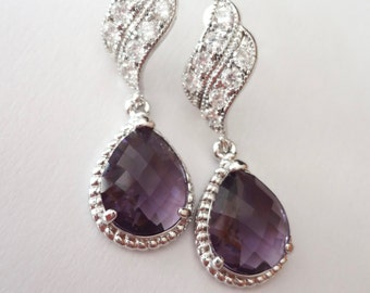 Amethyst earrings ~ Czech glass ~ Wave Sterling posts  Braided frame teardrops,Bridesmaids earrings,Purple teardrop earrings. OUTSTANDING -