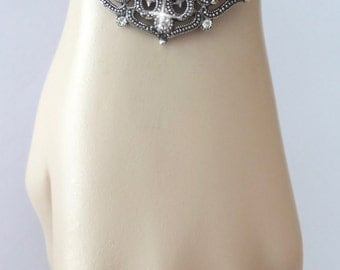 Brides bracelet ~ Snap on jewelry ~ Crystal statement bracelet ~ Snap on statement bracelet ~ Charm bracelet ~ Wedding bracelet ~ Cuff