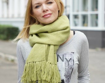 Hand woven scarf for women pashmina scarf women wrap olive READY TO SHIP