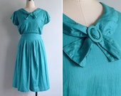 Vintage 80's Jewel Green Bow Collar Cotton Dress S or M