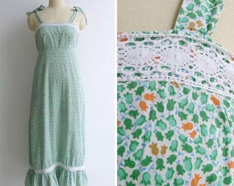 20% Off (Code In Shop) - Vintage 80's 'Tulip Garden' Crochet Lace Tiered Maxi Sun Dress S or M