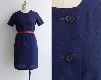 Vintage 70's Navy Blue Embossed Abstract Textured Shift Dress XS or S