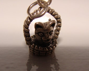 Kitten in Basket Charm, Sterling Silver Charm or Pendant