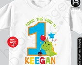 Dinosaur Birthday Shirt or Bodysuit -- Personalized Dinosaur Birthday Shirt with child's age and name