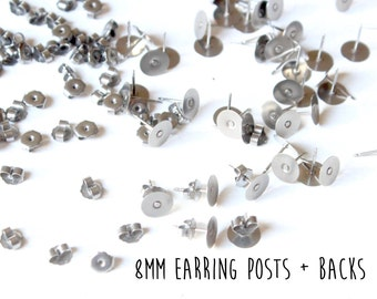 24 pieces - 12 pair - 8mm - Stainless Steel - Flat Pad - Earring Posts and Butterfly Nut Backs