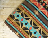 Rustic Aztec Fleece Crib Sheet Fitted - Toddler | red | orange | black | blue | tan | brown | southwestern | modern western | geometric