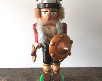 Vintage Original Steinbach Volkskunst Viking Norseman Wooden Nutcracker West Germany