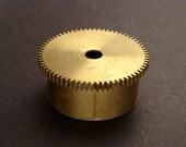 Large Brass Cylinder Gear, Mainspring Barrel from Vintage Clock Movement, Vintage Clockwork Mechanism Parts, Steampunk Art Supplies 03870