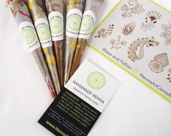5 handmade natural mehndi cones with essential oils and organic henna powder