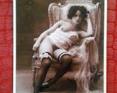Reserved- MATURE... Gloomy Sunday... Up-Cycled Victorian Cabinet Card... Original Mixed Media Erotic Art