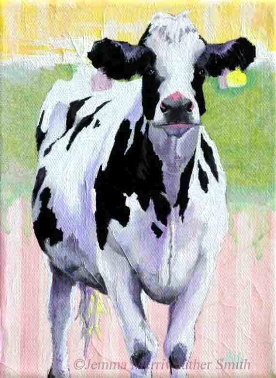 ACEO Cow Print of Cow Painting, Art Trading Cards, Collectable Cow Art with Pastel Stripes - by Jemmas Gems