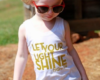 Christian Toddler Tank Top - Christian Baby Bodysuit - Let Your Light Shine - Matthew 5:16 - Jesus Tee - Christian Graphic Tee for Toddler
