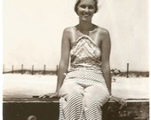 Tan Lines - Vintage Photo - Young Woman at the Beach - Vintage Hat - Snapshot - Found Vernacular Photo - 1920's