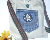 Denim Crossbody Bag - Daisy Flower Hand-Painted Purse - Medium Hippie Upcycled Jean Denim Fabric Handbag - Daisy Pocket Purse
