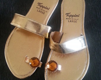 Tappini gold sandals with jeweled toe ring vintage 60s  size 8.5
