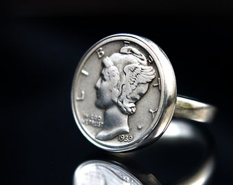 Mercury Dime Ring | Silver coin ring | American Coin Ring | Vintage Coin Ring | Silver coin | Mens Coin Ring | Vintage jewelry | Silver Ring