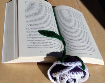 Crochet Rose Bookmark- Purple and White