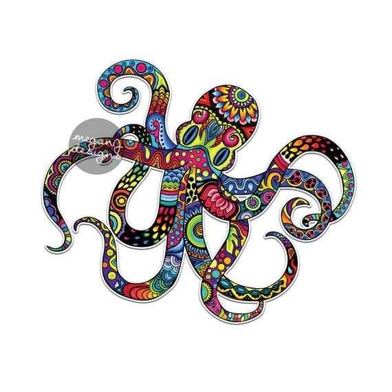 Octopus Sticker Colorful Design Bumper Sticker Laptop Decal