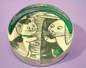Handmade Adorable Kitten Rabbit and Bird Friends Paperweight Office Glass Gift Collectibles Home Decor Keepsake