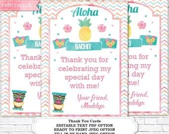 Luau Birthday Thank You Card - Printable Luau Thank You - Hula Thank You - Luau Gift Tag - Instant Download & Personalize in Adobe Reader