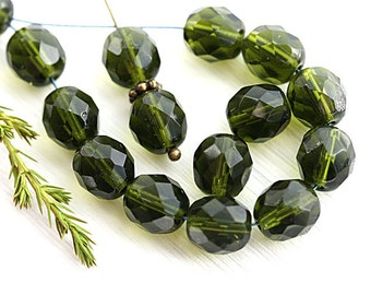 Dark Olivine glass beads, 8mm Czech round beads, Olive green, fire polished, faceted beads - 15Pc - 2727