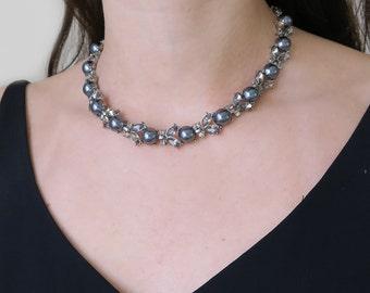 Vintage Monet Faux Pearl & Grey Paste Floral Silver Tone Necklace