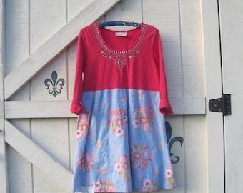 Bohemian dress M, Fuschia blue dress, Victorian Rustic, pink sequined casual, Boho dress, artsy clothing