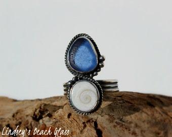 Hawaiian Kauai Rare Cornflower Blue Beach Glass with Operculum (Shiva's Eye) Set in 925 Sterling Silver Handcrafted Ring - Size 7