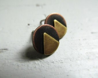 Geometric Studs -  Brass and Copper Stud Earrings
