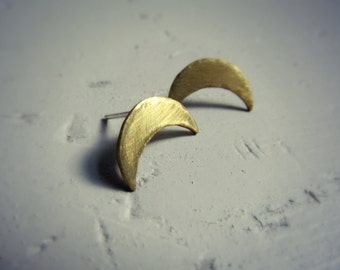Crescent Stud - Brass Inverted Crescent Moon Stud Earring