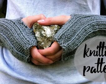 Fingerless Gloves Knitting Pattern / Ribbed Knit Wrist Warmers Easy Beginner Knit Project / Instant PDF Digital Download