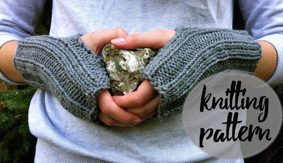 Fingerless Gloves Knitting Pattern Beginner : Fingerless Gloves Knitting Pattern / Ribbed by KnittingWonders