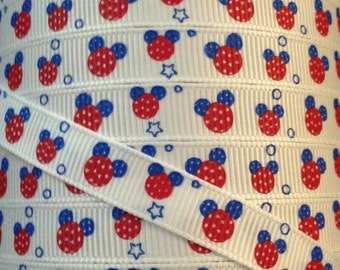 3/8 Grosgrain Ribbon - Printed Grosgrain Ribbon - 3 yards Disney Mickey Mouse Ribbon - Ribbon By The Yard - Fourth of July Mickey Ribbon