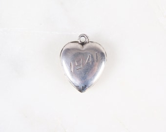 1940s Engraved Sterling Silver Heart Charm Pendant