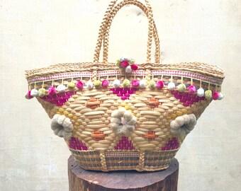 Sicilian Gypsy Tote/Straw Market Bag