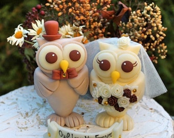 Owl love bird wedding cake topper, rustic country wedding cake topper, custom bride groom cake topper, pinecone bouquet, bigger figurines