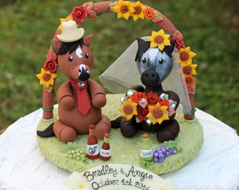 Horse wedding cake topper with flower arch, country rustic wedding, horses rider cake topper