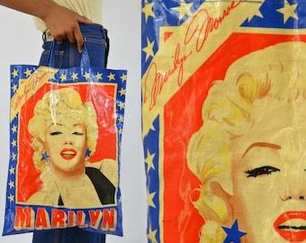 60s Marilyn Monroe Pop Art Red and White Shopper Tote Bag