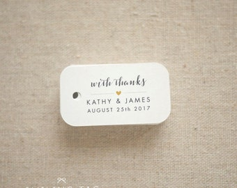 With Thanks Wedding Favor Tags