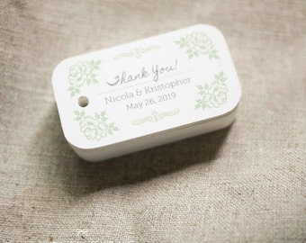Sage Green Wedding Favor Tags - Vintage Inspired Personalized Gift Tags - Thank you tags - Wedding Gift Tags - Set of 40 (Item code: J274)