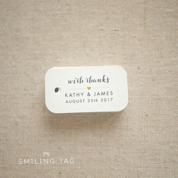 Wedding Gift Bag Etiquette : With Thanks Wedding Favor Tags - Personalized Gift Tags - Bridal ...