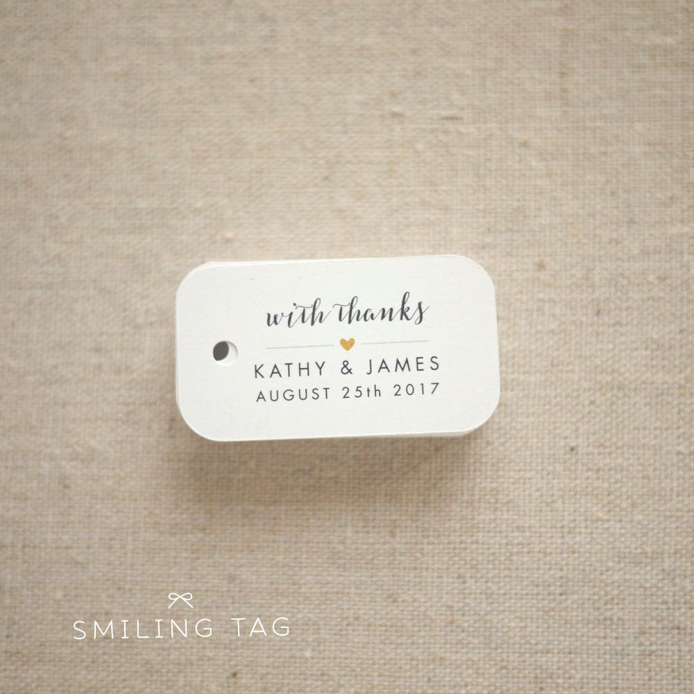 With Thanks Wedding Favor Tags Personalized Gift