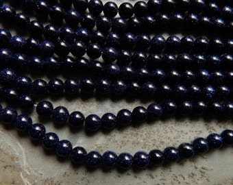 6-6.5mm Blue Goldstone Round Polished Beads, 15 Inch Strand (IND1C17)