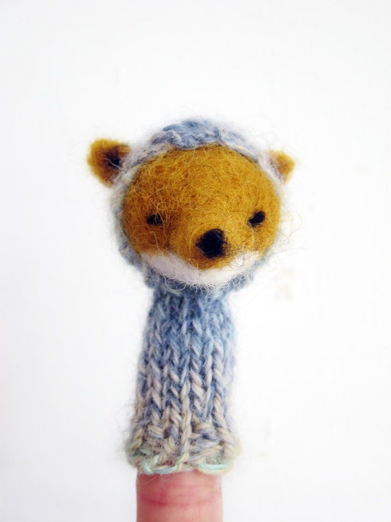 Woodland Fox Finger Puppet Soft Toy- handmade from wool, natural colors, blue, ochre, peach, baby, children