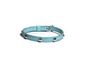 Spike Studded Blue Bracelet - Studded Blue Buckle Bracelet - Layering Bracelet