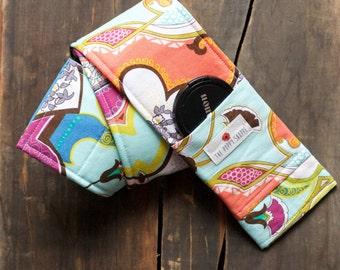 Camera Strap Cover- lens cap pocket and padding included- Retro Coral