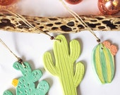 Ceramic Cactus Christmas ornaments, set of three green ceramic cactus, barrel cactus, saguaro cactus, prickly pear cactus